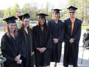 Five of six of the first dual enrollment graduates of North Central and Ashland-West Holmes